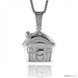 Sterling Silver Small House Pendant, Made in Italy. 1/2 in. (13 mm) Tall