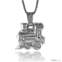 Sterling Silver Small Train Pendant, Made in Italy. 9/16 in. (14 mm) Tall