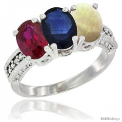 10K White Gold Natural Ruby, Blue Sapphire & Opal Ring 3-Stone Oval 7x5 mm Diamond Accent