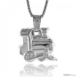 Sterling Silver Small Train Pendant, Made in Italy. 9/16 in. (14 mm) Tall -Style Iph186