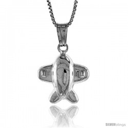 Sterling Silver Small Airplane Pendant, Made in Italy. 5/8 in. (16 mm) Tall