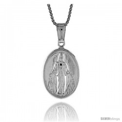 Sterling Silver Mother Mary Medal, Made in Italy. 11/16 in. (18 mm) Tall