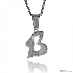Sterling Silver Lucky 13 Pendant, Made in Italy. 5/8 in. (16 mm) Tall
