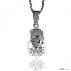 Sterling Silver Small Ball Cap Pendant, Made in Italy. 9/16 in. (14 mm) Tall