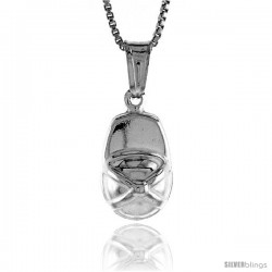 Sterling Silver Small Ball Cap Pendant, Made in Italy. 9/16 in. (14 mm) Tall -Style Iph193