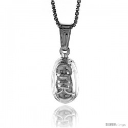 Sterling Silver Small Tennis Shoe Pendant, Made in Italy. 1/2 in. (13 mm) Tall