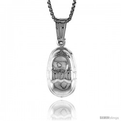 Sterling Silver Small Baby Shoe Pendant, Made in Italy. 9/16 in. (14 mm) Tall