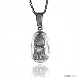 Sterling Silver Small Baby Shoe Pendant, Made in Italy. 9/16 in. (14 mm) Tall -Style Iph197