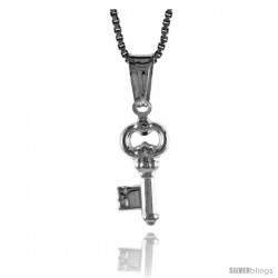 Sterling Silver Small Key Pendant, Made in Italy. 1/2 in. (13 mm) Tall