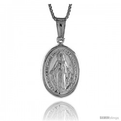 Sterling Silver Immaculate Concepcion Medal, Made in Italy. 11/16 in. (18 mm) Tall