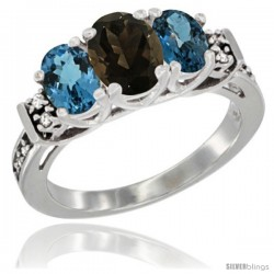 14K White Gold Natural Smoky Topaz & London Blue Ring 3-Stone Oval with Diamond Accent