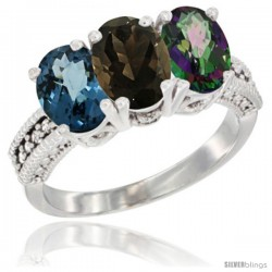 14K White Gold Natural London Blue Topaz, Smoky Topaz & Mystic Topaz Ring 3-Stone 7x5 mm Oval Diamond Accent