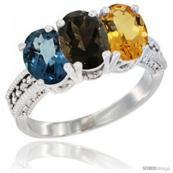 14K White Gold Natural London Blue Topaz, Smoky Topaz & Citrine Ring 3-Stone 7x5 mm Oval Diamond Accent