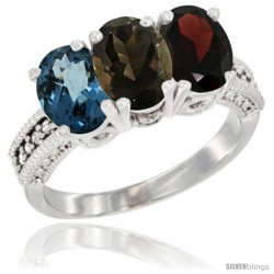 14K White Gold Natural London Blue Topaz, Smoky Topaz & Garnet Ring 3-Stone 7x5 mm Oval Diamond Accent