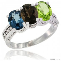 14K White Gold Natural London Blue Topaz, Smoky Topaz & Peridot Ring 3-Stone 7x5 mm Oval Diamond Accent