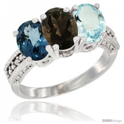 14K White Gold Natural London Blue Topaz, Smoky Topaz & Aquamarine Ring 3-Stone 7x5 mm Oval Diamond Accent
