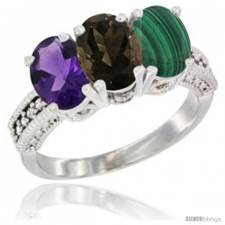 10K White Gold Natural Amethyst, Smoky Topaz & Malachite Ring 3-Stone Oval 7x5 mm Diamond Accent