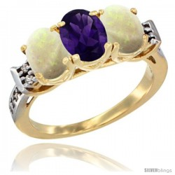 10K Yellow Gold Natural Amethyst & Opal Sides Ring 3-Stone Oval 7x5 mm Diamond Accent