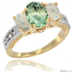 10K Yellow Gold Ladies Oval Natural Green Amethyst 3-Stone Ring with Opal Sides Diamond Accent