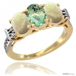 10K Yellow Gold Natural Green Amethyst & Opal Sides Ring 3-Stone Oval 7x5 mm Diamond Accent