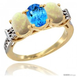 10K Yellow Gold Natural Swiss Blue Topaz & Opal Sides Ring 3-Stone Oval 7x5 mm Diamond Accent