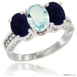10K White Gold Natural Aquamarine & Lapis Sides Ring 3-Stone Oval 7x5 mm Diamond Accent