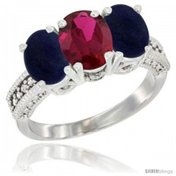 10K White Gold Natural Ruby & Lapis Sides Ring 3-Stone Oval 7x5 mm Diamond Accent