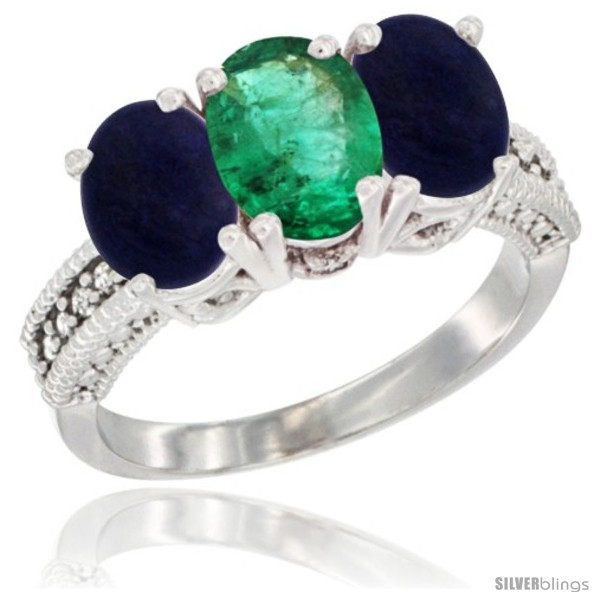 https://www.silverblings.com/37005-thickbox_default/10k-white-gold-natural-emerald-lapis-sides-ring-3-stone-oval-7x5-mm-diamond-accent.jpg