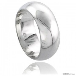Sterling Silver 8 mm Domed Wedding Band