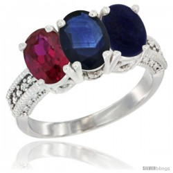 10K White Gold Natural Ruby, Blue Sapphire & Lapis Ring 3-Stone Oval 7x5 mm Diamond Accent