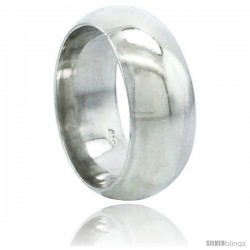 Sterling Silver 9 mm High Dome Wedding Band