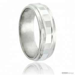 Sterling Silver Wedding Band 7mm Faceted Center with 2 Grooves
