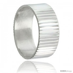 Sterling Silver 9mm Wide Grooved Wedding Band