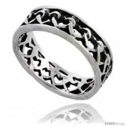 Sterling Silver Heart Cut-out Link Wedding Band Ring 1/4 in wide