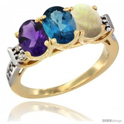 10K Yellow Gold Natural Amethyst, London Blue Topaz & Opal Ring 3-Stone Oval 7x5 mm Diamond Accent