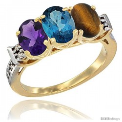 10K Yellow Gold Natural Amethyst, London Blue Topaz & Tiger Eye Ring 3-Stone Oval 7x5 mm Diamond Accent
