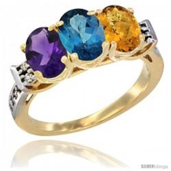 10K Yellow Gold Natural Amethyst, London Blue Topaz & Whisky Quartz Ring 3-Stone Oval 7x5 mm Diamond Accent