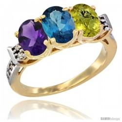 10K Yellow Gold Natural Amethyst, London Blue Topaz & Lemon Quartz Ring 3-Stone Oval 7x5 mm Diamond Accent