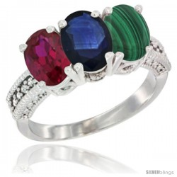 10K White Gold Natural Ruby, Blue Sapphire & Malachite Ring 3-Stone Oval 7x5 mm Diamond Accent