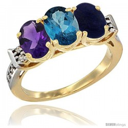 10K Yellow Gold Natural Amethyst, London Blue Topaz & Lapis Ring 3-Stone Oval 7x5 mm Diamond Accent