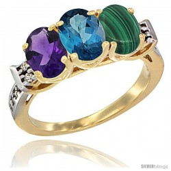 10K Yellow Gold Natural Amethyst, London Blue Topaz & Malachite Ring 3-Stone Oval 7x5 mm Diamond Accent