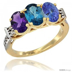 10K Yellow Gold Natural Amethyst, London Blue Topaz & Tanzanite Ring 3-Stone Oval 7x5 mm Diamond Accent