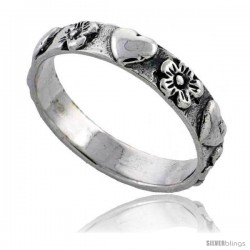 Sterling Silver Hearts & Flowers Link Wedding Band Ring