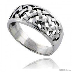 Sterling Silver Basket Weave Wedding Band Ring 3/8 wide