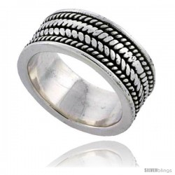 Sterling Silver Braided Rope Wedding Band Ring 3/8 wide