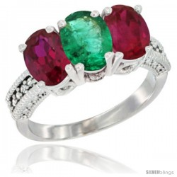 14K White Gold Natural Emerald & Ruby Sides Ring 3-Stone Oval 7x5 mm Diamond Accent