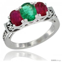 14K White Gold Natural Emerald & Ruby Ring 3-Stone Oval with Diamond Accent