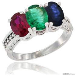 14K White Gold Natural Ruby, Emerald & Blue Sapphire Ring 3-Stone Oval 7x5 mm Diamond Accent