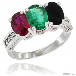 14K White Gold Natural Ruby, Emerald & Black Onyx Ring 3-Stone Oval 7x5 mm Diamond Accent