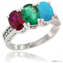 14K White Gold Natural Ruby, Emerald & Turquoise Ring 3-Stone Oval 7x5 mm Diamond Accent